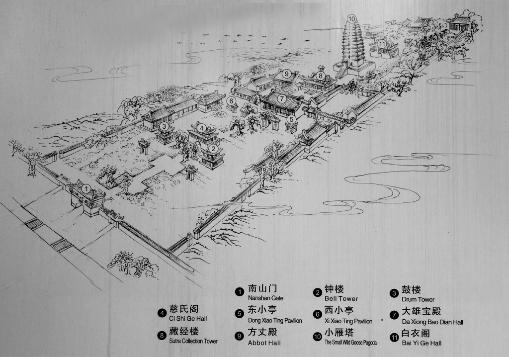 Plan of monastery housing the Small Goose pagoda in Xian