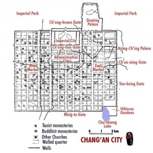 Map of Chang'An city, from Wikipedia