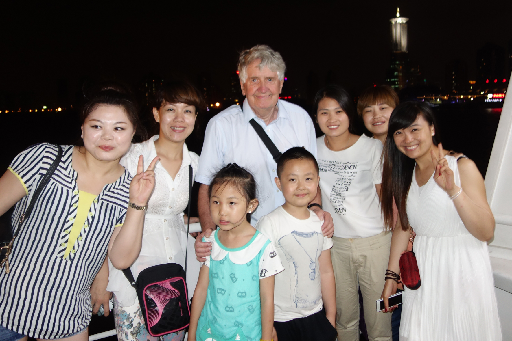 Happy Chinese party on the riverboat at Shanghai